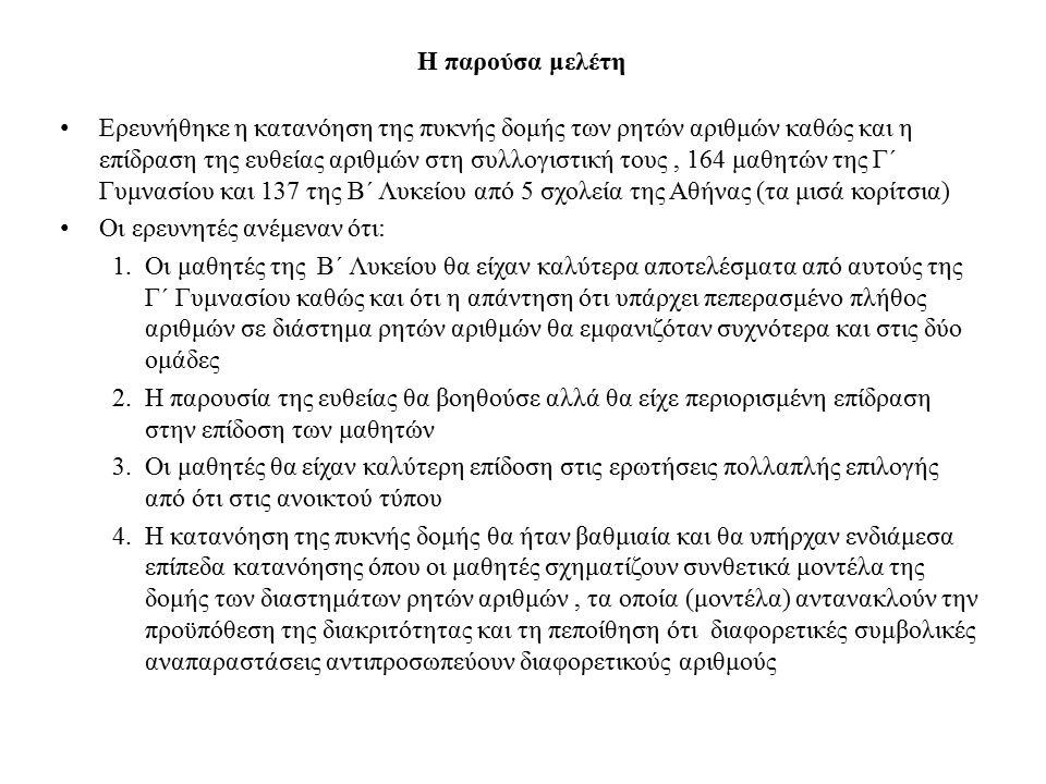 Σχεδιάστηκαν δύο ερωτηματολόγια : ένα ανοικτού τύπου (QT1) και ένα πολλαπλής επιλογής (QT2) καθένα με δύο μέρη των τριών ερωτήσεων (το ένα με χρήση της ευθείας ενώ το άλλο χωρίς).