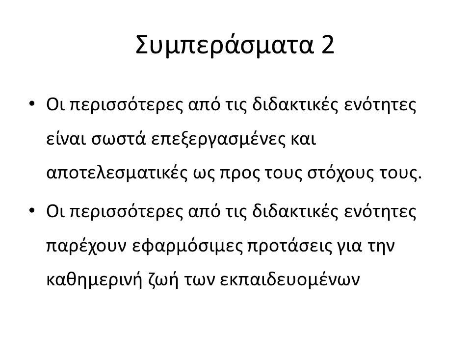Συμπεράσματα 2 Οι περισσότερες από τις διδακτικές ενότητες είναι σωστά επεξεργασμένες και αποτελεσματικές ως προς τους στόχους τους.