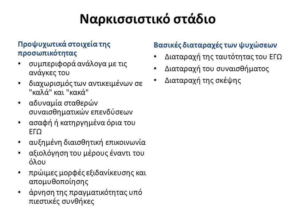 Ναρκισσιστικό στάδιο Προψυχωτικά στοιχεία της προσωπικότητας συμπεριφορά ανάλογα με τις ανάγκες του διαχωρισμός των αντικειμένων σε