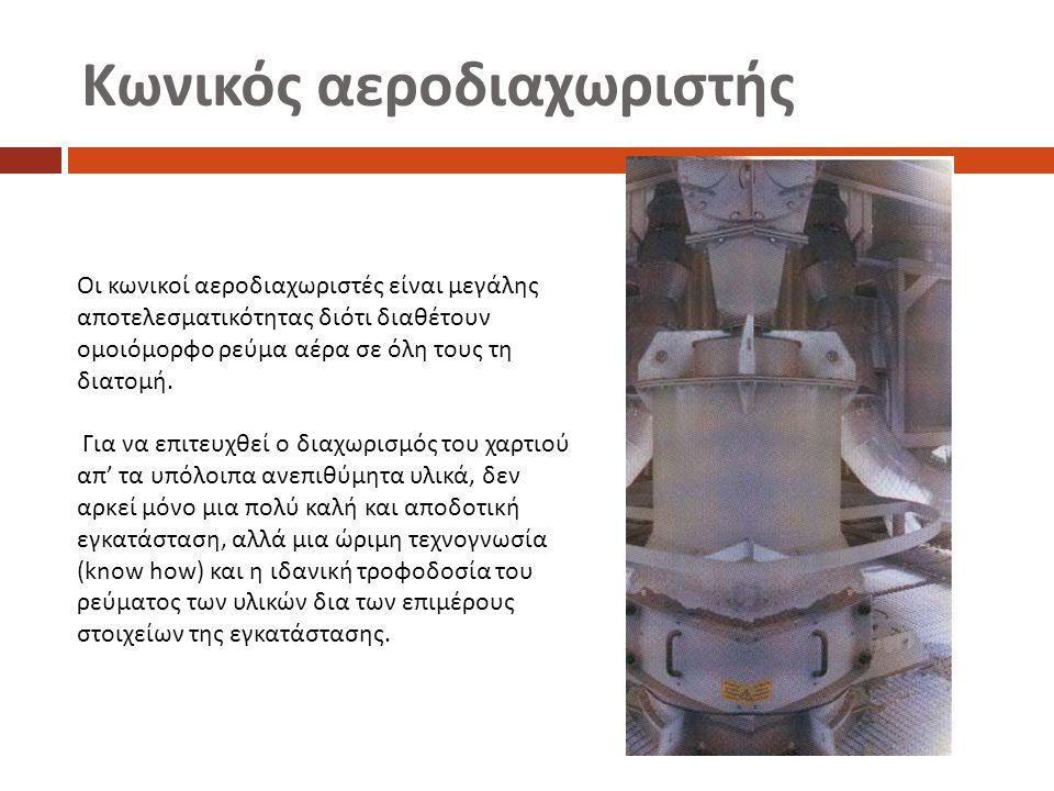 Κωνικός αεροδιαχωριστής Οι κωνικοί αεροδιαχωριστές είναι μεγάλης αποτελεσματικότητας διότι διαθέτουν ομοιόμορφο ρεύμα αέρα σε όλη τους τη διατομή.