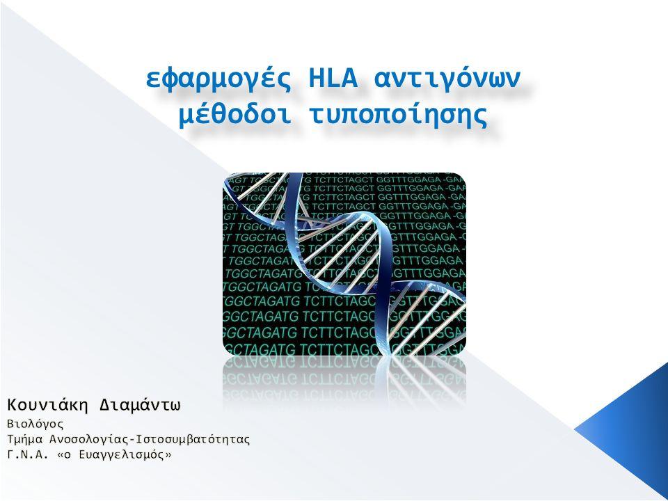 εφαρμογές HLA αντιγόνων μέθοδοι τυποποίησης εφαρμογές HLA αντιγόνων μέθοδοι τυποποίησης
