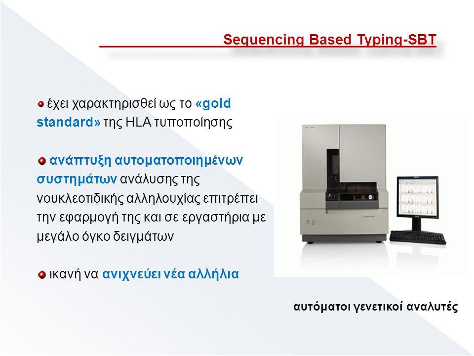 Sequencing Based Typing-SBT έχει χαρακτηρισθεί ως το «gold standard» της HLA τυποποίησης ανάπτυξη αυτοματοποιημένων συστημάτων ανάλυσης της νουκλεοτιδικής αλληλουχίας επιτρέπει την εφαρμογή της και σε εργαστήρια με μεγάλο όγκο δειγμάτων ικανή να ανιχνεύει νέα αλλήλια αυτόματοι γενετικοί αναλυτές