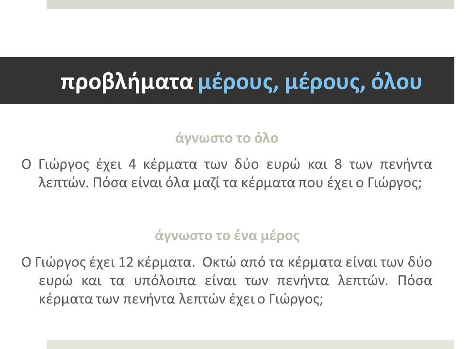 προβλήματα μέρους, μέρους, όλου άγνωστο το όλο Ο Γιώργος έχει 4 κέρματα των δύο ευρώ και 8 των πενήντα λεπτών.