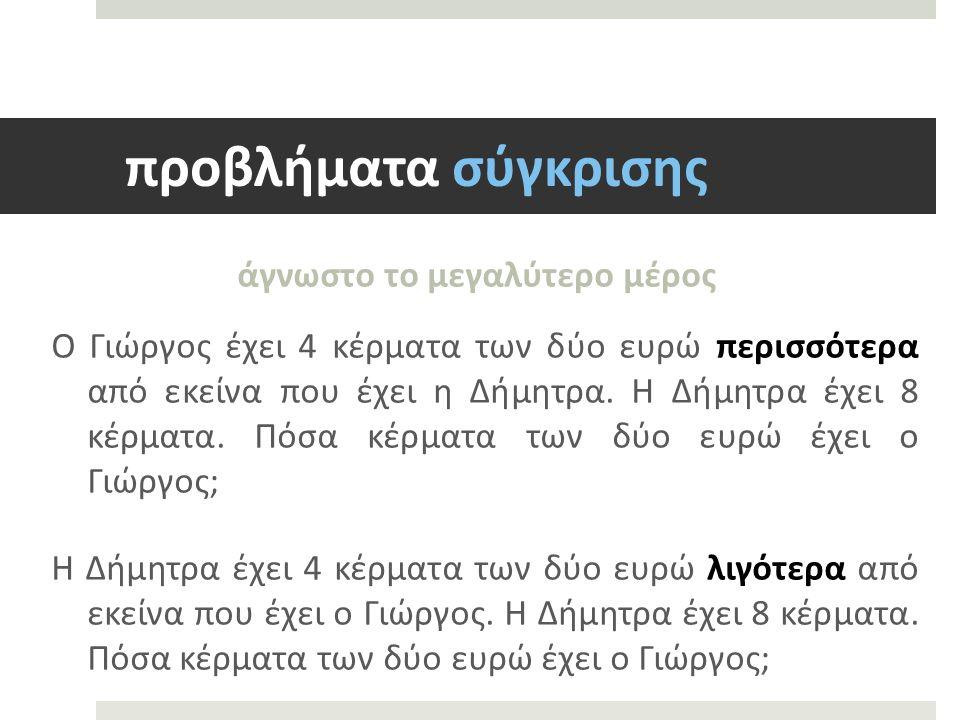 προβλήματα σύγκρισης άγνωστο το μεγαλύτερο μέρος Ο Γιώργος έχει 4 κέρματα των δύο ευρώ περισσότερα από εκείνα που έχει η Δήμητρα.