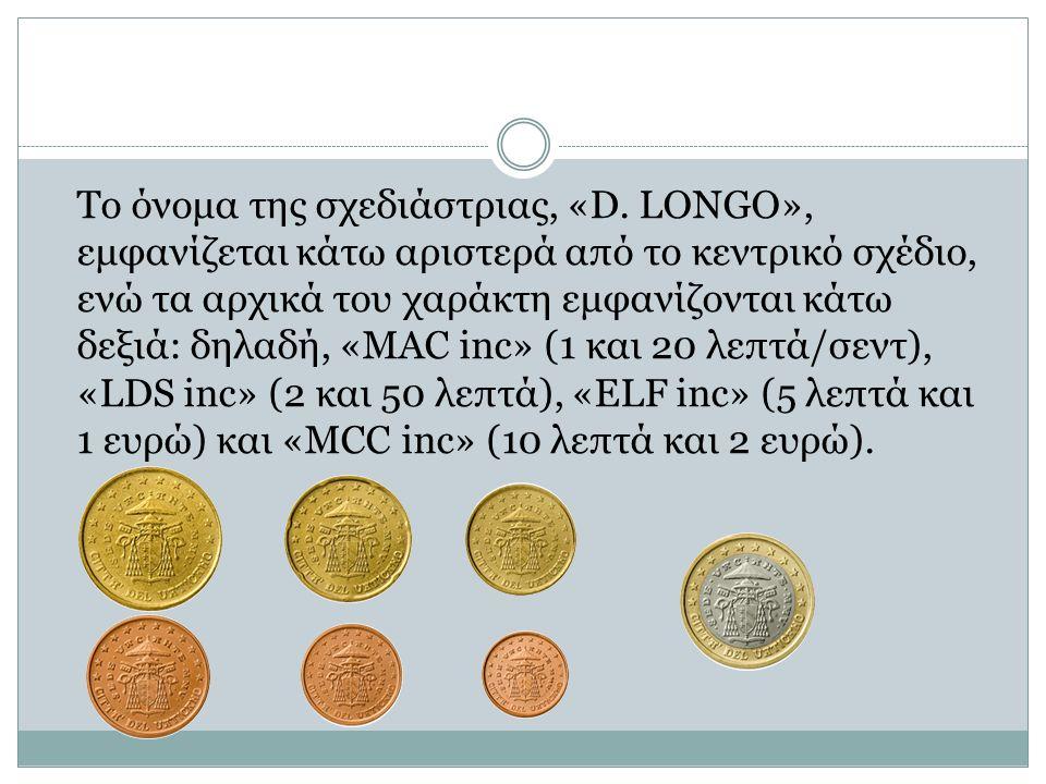Το όνομα της σχεδιάστριας, «D. LONGO», εμφανίζεται κάτω αριστερά από το κεντρικό σχέδιο, ενώ τα αρχικά του χαράκτη εμφανίζονται κάτω δεξιά: δηλαδή, «M