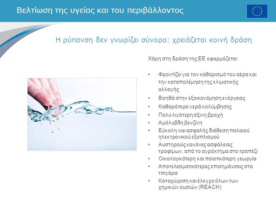 Βελτίωση της υγείας και του περιβάλλοντος Χάρη στη δράση της ΕΕ εφαρμόζεται: Φροντίζει για τον καθαρισμό του αέρα και την καταπολέμηση της κλιματικής αλλαγής Βοηθά στην εξοικονόμηση ενέργειας Καθαρότερα νερά κολύμβησης Πολύ λιγότερη όξινη βροχή Αμόλυβδη βενζίνη Εύκολη και ασφαλής διάθεση παλαιού ηλεκτρονικού εξοπλισμού Αυστηρούς κανόνες ασφάλειας τροφίμων, από το αγρόκτημα στο τραπέζι Οικολογικότερη και ποιοτικότερη γεωργία Αποτελεσματικότερες επισημάνσεις στα τσιγάρα Καταχώριση και έλεγχο όλων των χημικών ουσιών (REACH) Η ρύπανση δεν γνωρίζει σύνορα: χρειάζεται κοινή δράση
