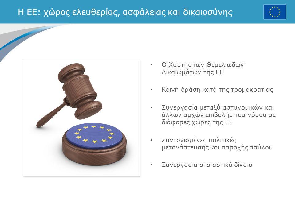 Η ΕΕ: χώρος ελευθερίας, ασφάλειας και δικαιοσύνης Ο Χάρτης των Θεμελιωδών Δικαιωμάτων της ΕΕ Κοινή δράση κατά της τρομοκρατίας Συνεργασία μεταξύ αστυνομικών και άλλων αρχών επιβολής του νόμου σε διάφορες χώρες της ΕΕ Συντονισμένες πολιτικές μετανάστευσης και παροχής ασύλου Συνεργασία στο αστικό δίκαιο