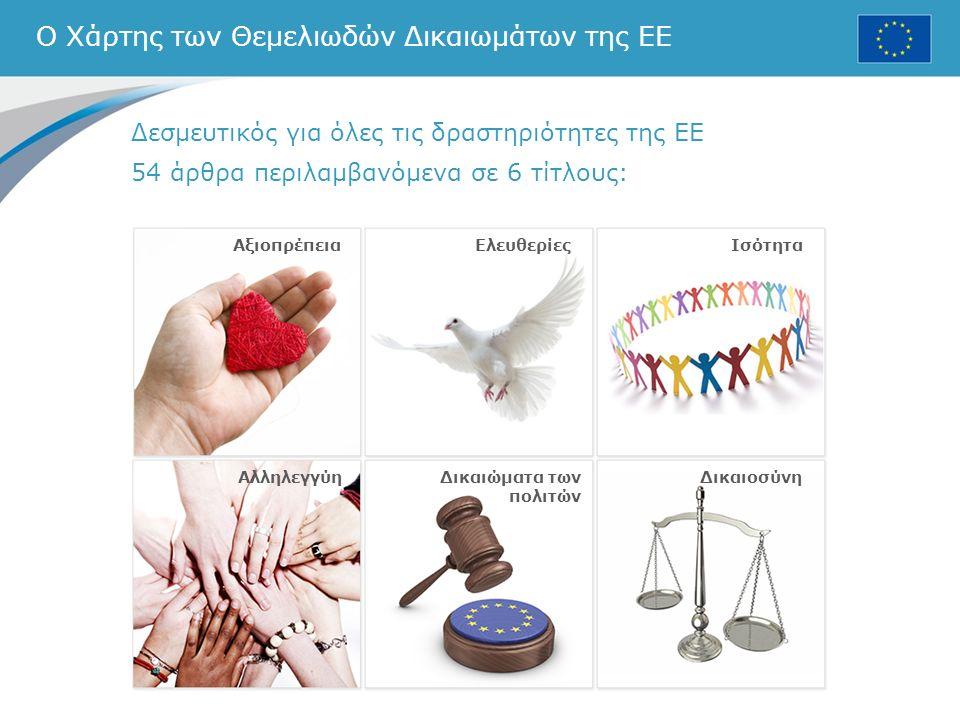 Ο Χάρτης των Θεμελιωδών Δικαιωμάτων της ΕΕ Δεσμευτικός για όλες τις δραστηριότητες της ΕΕ 54 άρθρα περιλαμβανόμενα σε 6 τίτλους: ΕλευθερίεςΙσότητα ΑλληλεγγύηΔικαιώματα των πολιτών Δικαιοσύνη Αξιοπρέπεια