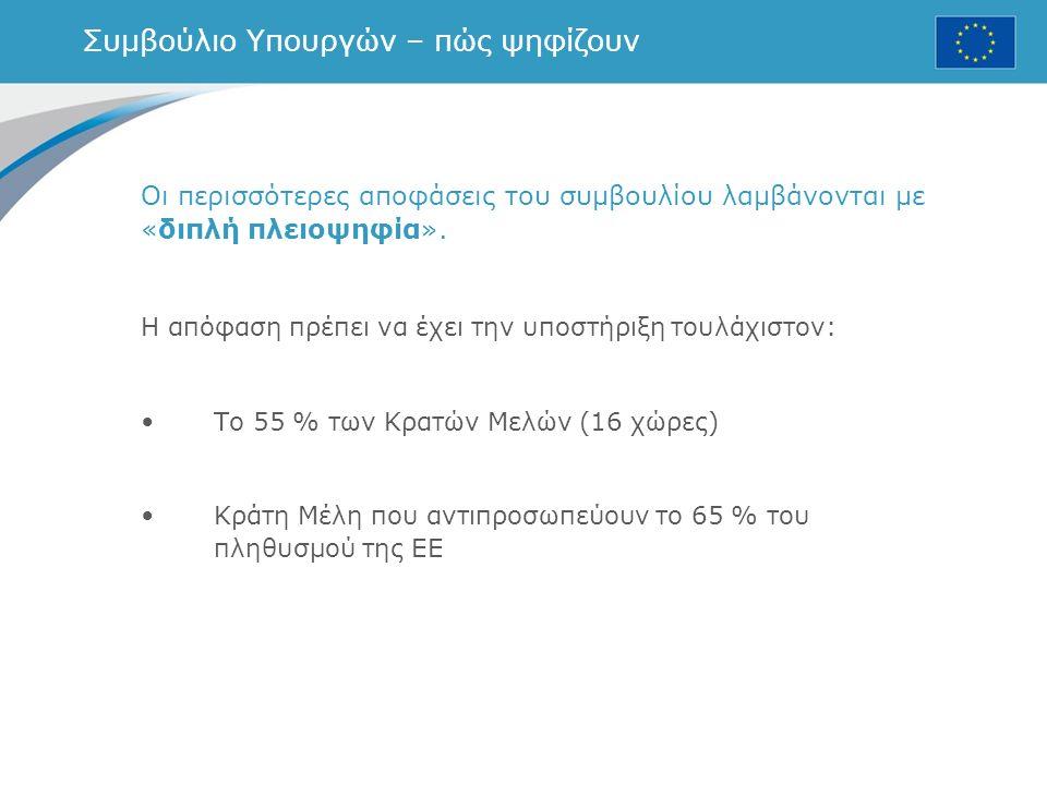 Συμβούλιο Υπουργών – πώς ψηφίζουν Οι περισσότερες αποφάσεις του συμβουλίου λαμβάνονται με «διπλή πλειοψηφία».