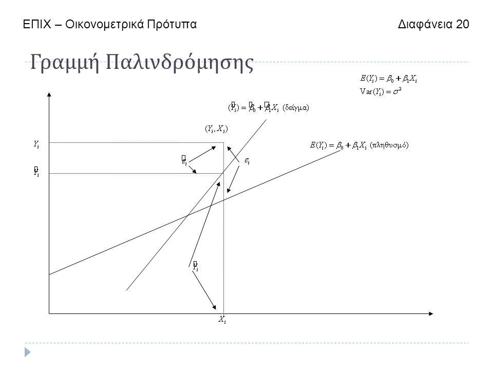 Γραμμή Παλινδρόμησης ΕΠΙΧ – Οικονομετρικά Πρότυπα Διαφάνεια 20