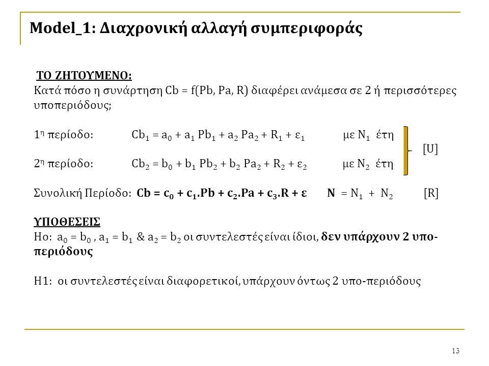 13 Model_1: Διαχρονική αλλαγή συμπεριφοράς ΤΟ ΖΗΤΟΥΜΕΝΟ: Κατά πόσο η συνάρτηση Cb = f(Pb, Pa, R) διαφέρει ανάμεσα σε 2 ή περισσότερες υποπεριόδους; 1 η περίοδο: Cb 1 = a 0 + a 1 Pb 1 + a 2 Pa 2 + R 1 + ε 1 με Ν 1 έτη [U] 2 η περίοδο: Cb 2 = b 0 + b 1 Pb 2 + b 2 Pa 2 + R 2 + ε 2 με Ν 2 έτη Συνολική Περίοδο: Cb = c 0 + c 1.Pb + c 2.Pa + c 3.R + εΝ = Ν 1 + Ν 2 [R] ΥΠΟΘΕΣΕΙΣ Ho: a 0 = b 0, a 1 = b 1 & a 2 = b 2 οι συντελεστές είναι ίδιοι, δεν υπάρχουν 2 υπο- περιόδους Η1: οι συντελεστές είναι διαφορετικοί, υπάρχουν όντως 2 υπο-περιόδους