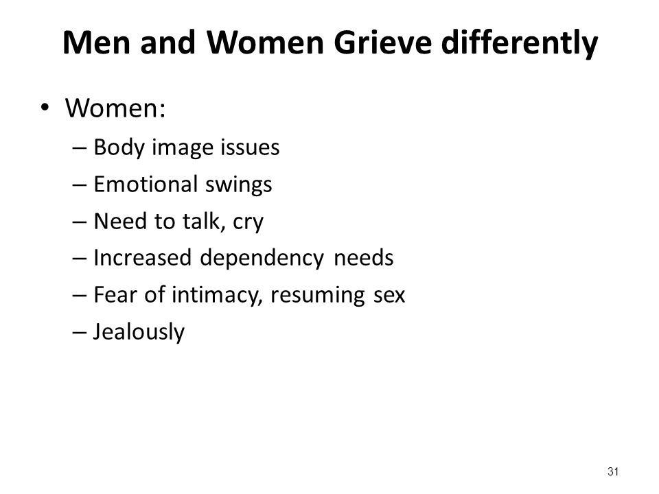 Men and Women Grieve differently Women: – Body image issues – Emotional swings – Need to talk, cry – Increased dependency needs – Fear of intimacy, re