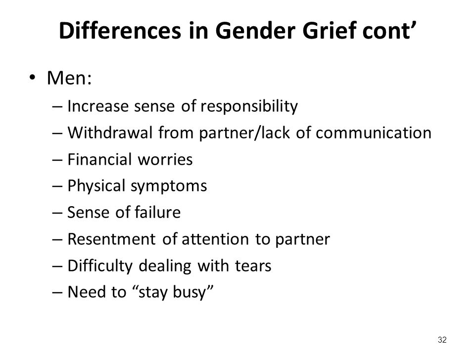 Differences in Gender Grief cont' Men: – Increase sense of responsibility – Withdrawal from partner/lack of communication – Financial worries – Physic