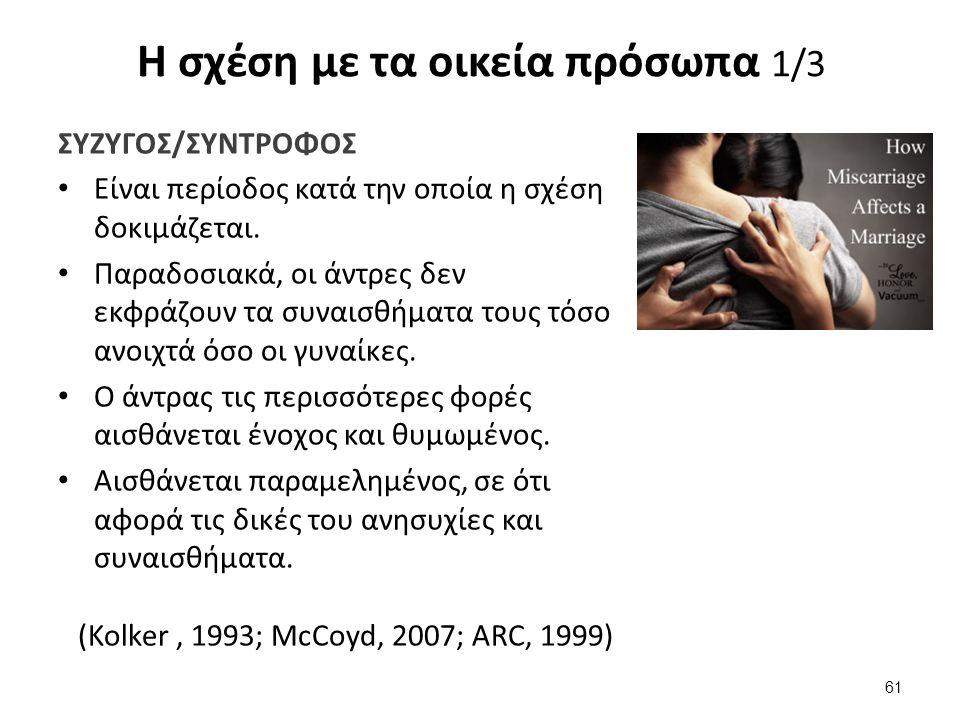 Η σχέση με τα οικεία πρόσωπα 1/3 ΣΥΖΥΓΟΣ/ΣΥΝΤΡΟΦΟΣ Είναι περίοδος κατά την οποία η σχέση δοκιμάζεται.