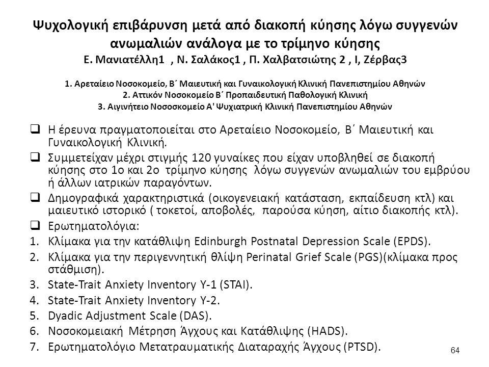 Ψυχολογική επιβάρυνση μετά από διακοπή κύησης λόγω συγγενών ανωμαλιών ανάλογα με το τρίμηνο κύησης Ε.