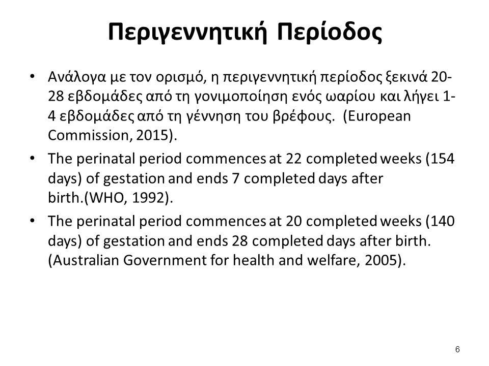 Περιγεννητική Περίοδος Ανάλογα με τον ορισμό, η περιγεννητική περίοδος ξεκινά 20- 28 εβδομάδες από τη γονιμοποίηση ενός ωαρίου και λήγει 1- 4 εβδομάδες από τη γέννηση του βρέφους.