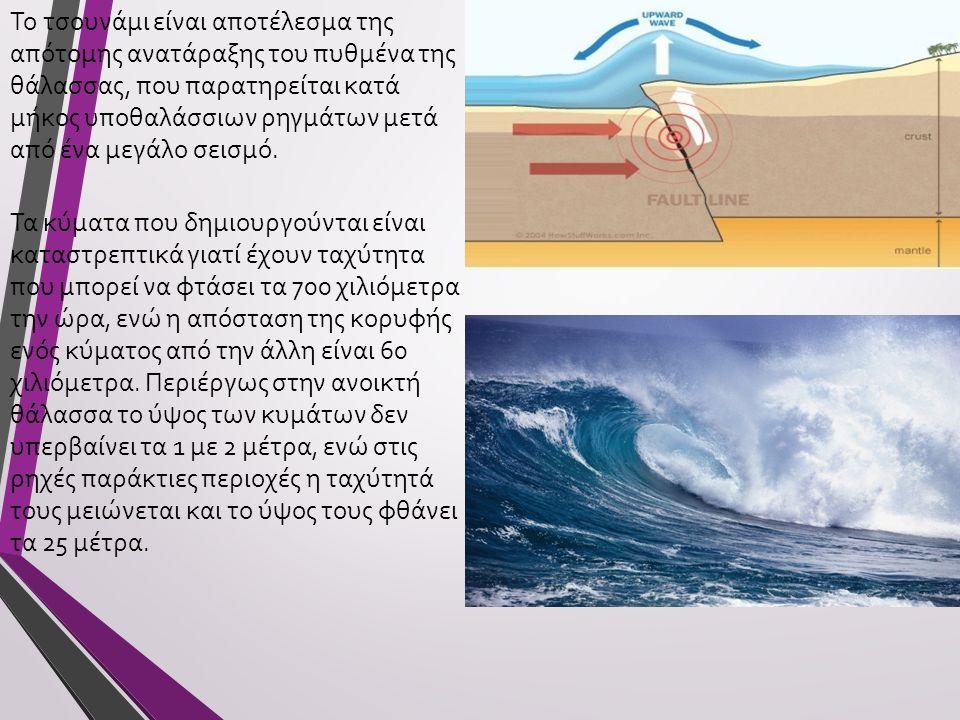 Το τσουνάμι είναι αποτέλεσμα της απότομης ανατάραξης του πυθμένα της θάλασσας, που παρατηρείται κατά μήκος υποθαλάσσιων ρηγμάτων μετά από ένα μεγάλο σεισμό.
