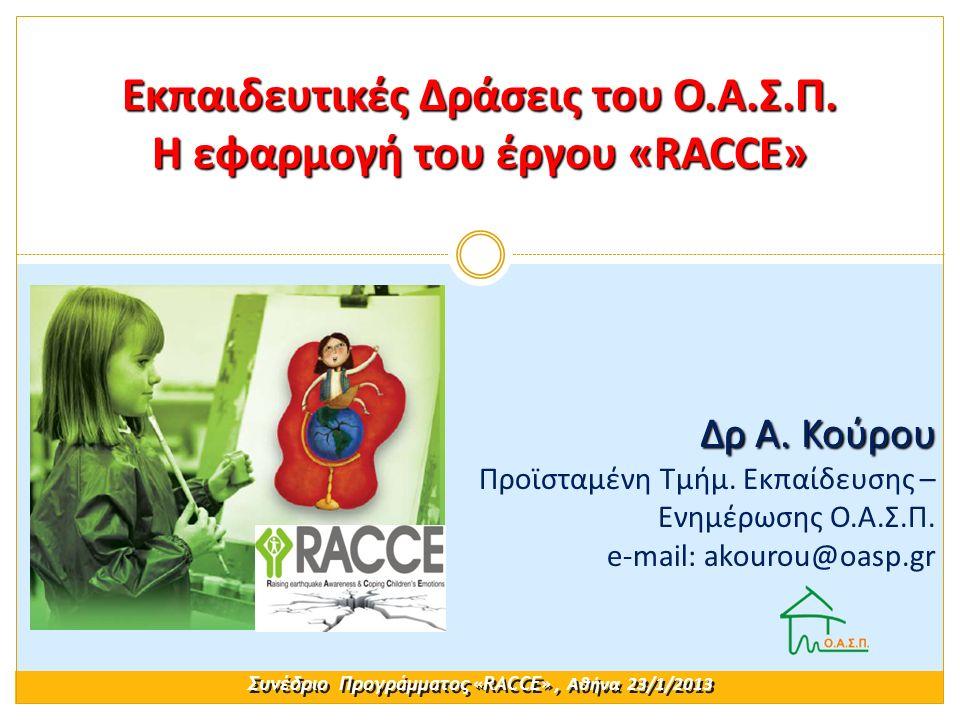 Εκπαιδευτικές Δράσεις του Ο.Α.Σ.Π. Η εφαρμογή του έργου «RACCE» Συνέδριο Προγράμματος «RACCE», Αθήνα 23/1/2013 Δρ Α. Κούρου Δρ Α. Κούρου Προϊσταμένη Τ