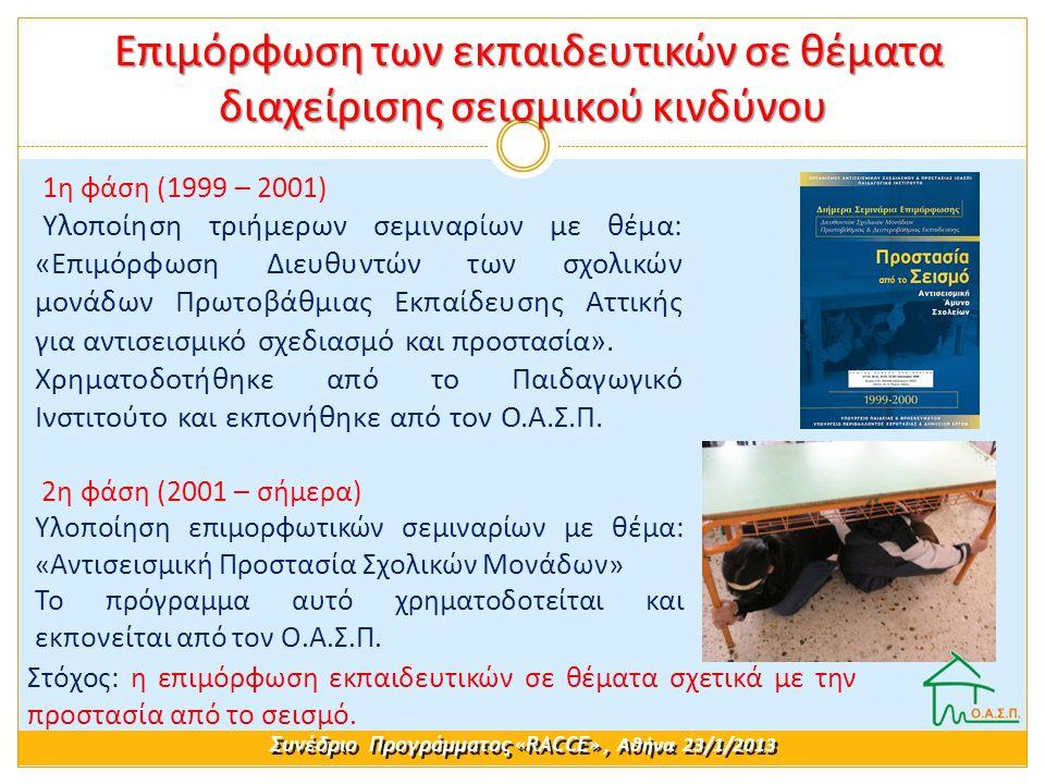1η φάση (1999 – 2001) Υλοποίηση τριήμερων σεμιναρίων με θέμα: «Επιμόρφωση Διευθυντών των σχολικών μονάδων Πρωτοβάθμιας Εκπαίδευσης Αττικής για αντισεισμικό σχεδιασμό και προστασία».