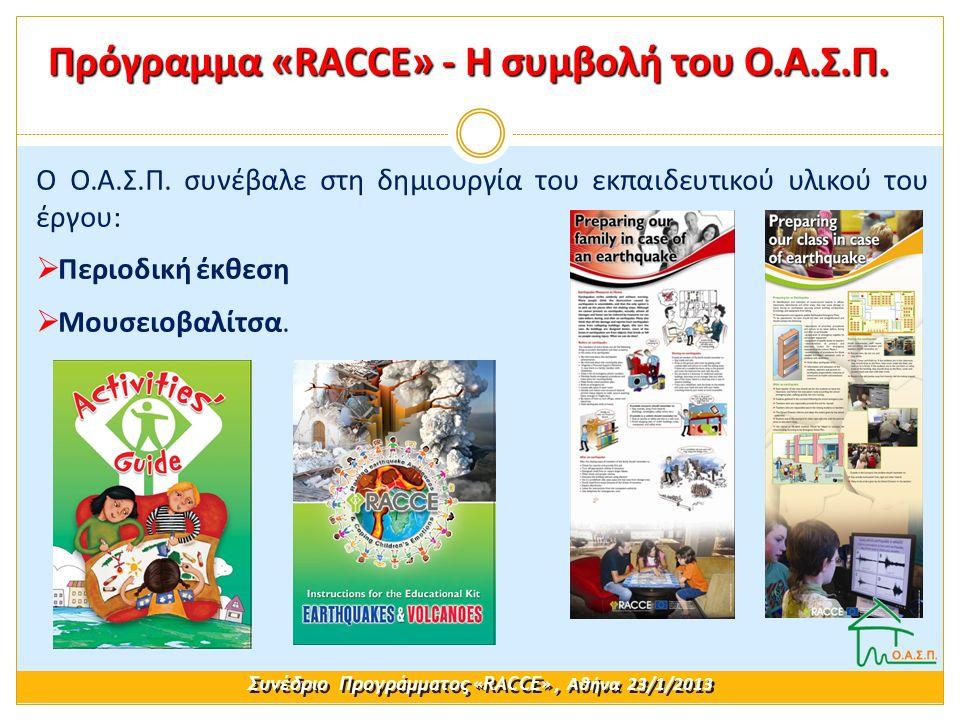 Ο Ο.Α.Σ.Π. συνέβαλε στη δημιουργία του εκπαιδευτικού υλικού του έργου:  Περιοδική έκθεση  Μουσειοβαλίτσα. Συνέδριο Προγράμματος «RACCE», Αθήνα 23/1/