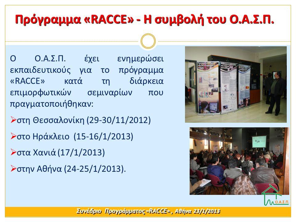 Ο Ο.Α.Σ.Π. έχει ενημερώσει εκπαιδευτικούς για το πρόγραμμα «RACCE» κατά τη διάρκεια επιμορφωτικών σεμιναρίων που πραγματοποιήθηκαν:  στη Θεσσαλονίκη