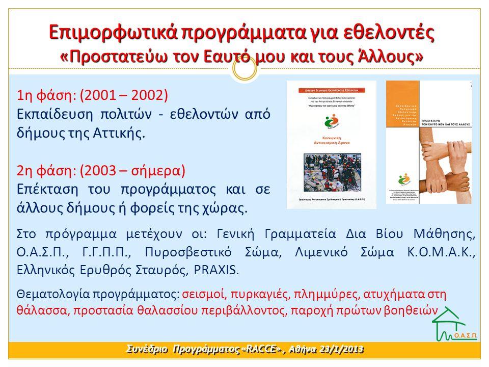 1η φάση: (2001 – 2002) Εκπαίδευση πολιτών - εθελοντών από δήμους της Αττικής. 2η φάση: (2003 – σήμερα) Επέκταση του προγράμματος και σε άλλους δήμους
