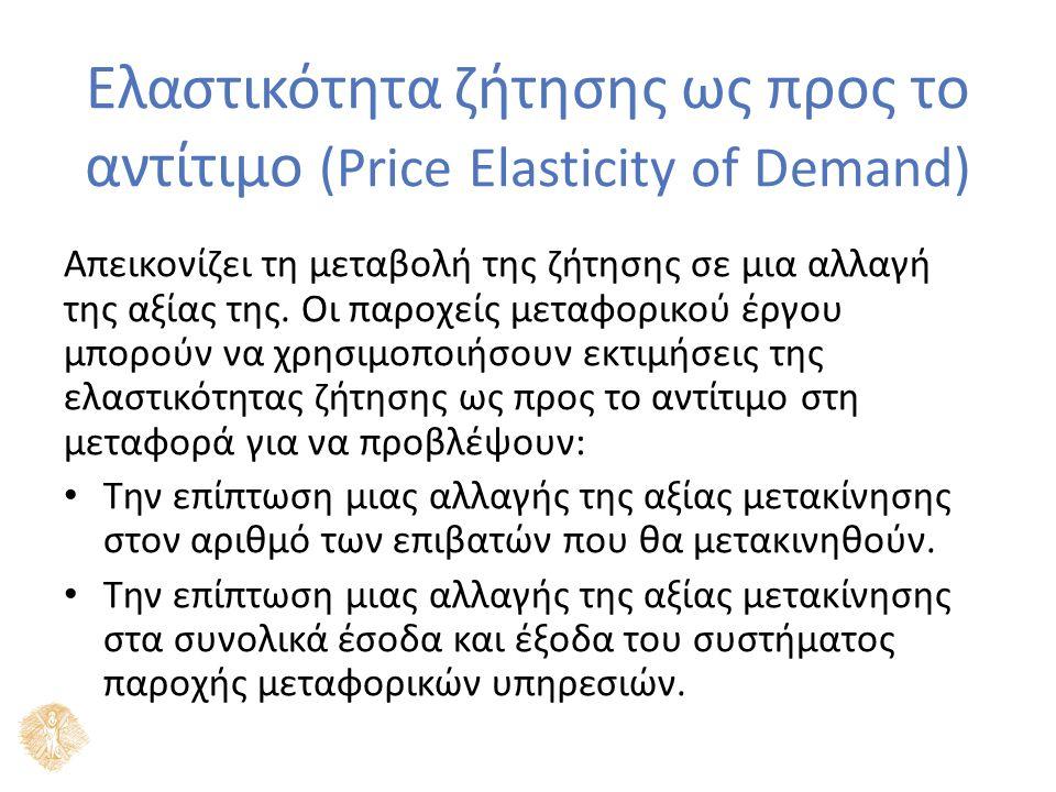 Ελαστικότητα ζήτησης ως προς το αντίτιμο (Price Elasticity of Demand) Απεικονίζει τη μεταβολή της ζήτησης σε μια αλλαγή της αξίας της.