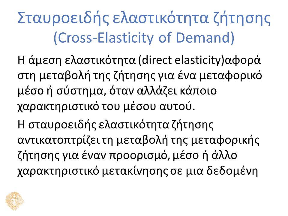 Σταυροειδής ελαστικότητα ζήτησης (Cross-Elasticity of Demand) Η άμεση ελαστικότητα (direct elasticity)αφορά στη μεταβολή της ζήτησης για ένα μεταφορικό μέσο ή σύστημα, όταν αλλάζει κάποιο χαρακτηριστικό του μέσου αυτού.