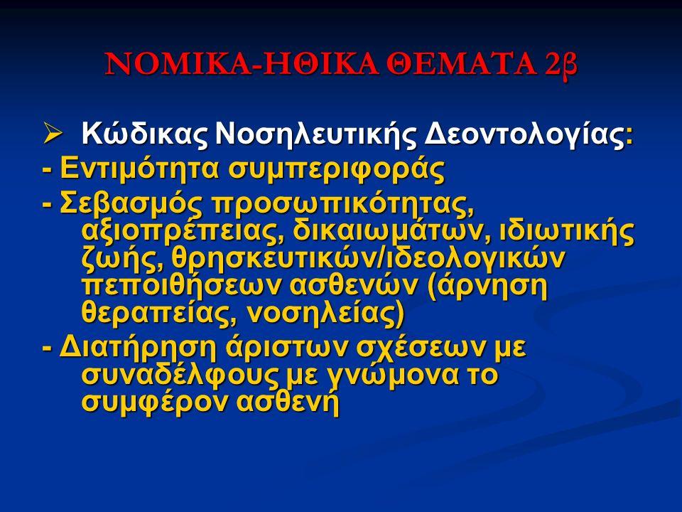 ΝΟΜΙΚΑ-ΗΘΙΚΑ ΘΕΜΑΤΑ 2β  Κώδικας Νοσηλευτικής Δεοντολογίας: - Εντιμότητα συμπεριφοράς - Σεβασμός προσωπικότητας, αξιοπρέπειας, δικαιωμάτων, ιδιωτικής