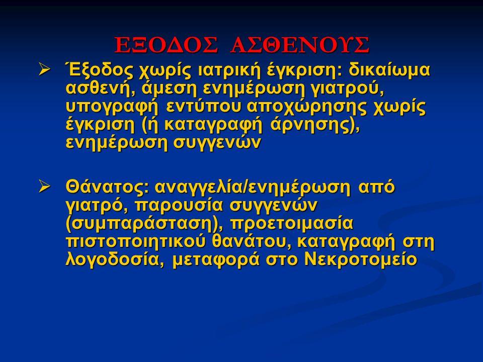 ΕΞΟΔΟΣ ΑΣΘΕΝΟΥΣ  Έξοδος χωρίς ιατρική έγκριση: δικαίωμα ασθενή, άμεση ενημέρωση γιατρού, υπογραφή εντύπου αποχώρησης χωρίς έγκριση (ή καταγραφή άρνησ