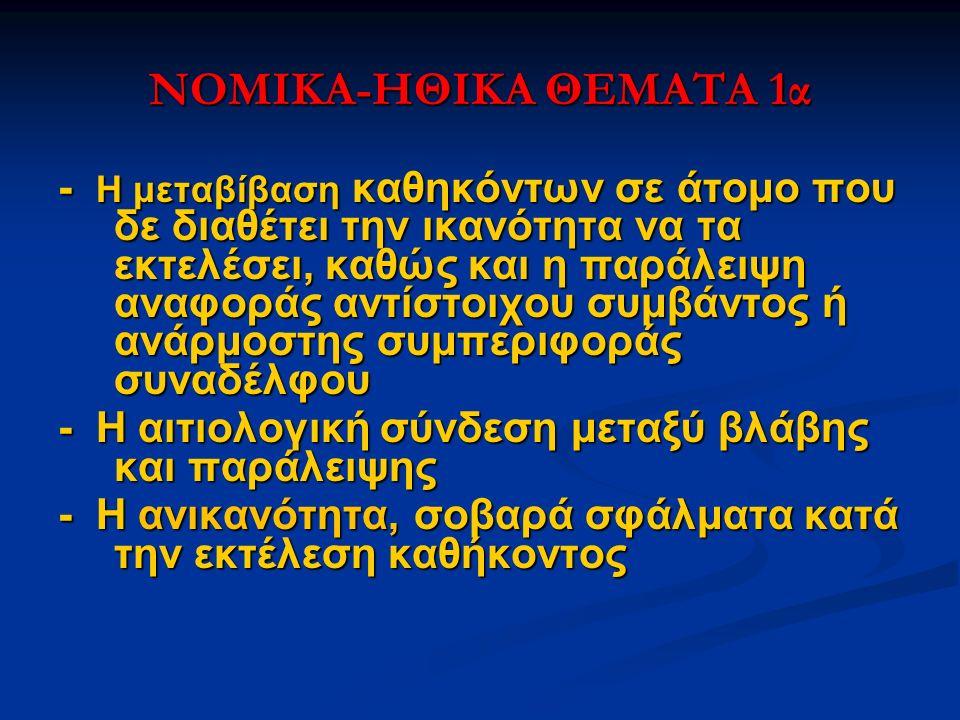 NOMIKA-HΘIKA ΘΕΜΑΤΑ 1α - Η μεταβίβαση καθηκόντων σε άτομο που δε διαθέτει την ικανότητα να τα εκτελέσει, καθώς και η παράλειψη αναφοράς αντίστοιχου συ