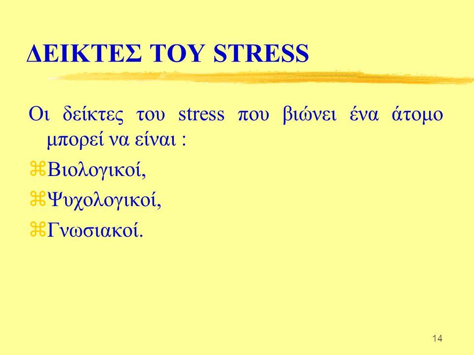 14 ΔΕΙΚΤΕΣ ΤΟΥ STRESS Οι δείκτες του stress που βιώνει ένα άτομο μπορεί να είναι : zΒιολογικοί, zΨυχολογικοί, zΓνωσιακοί.