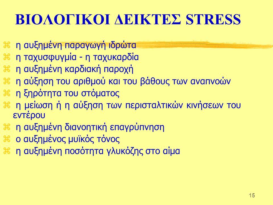 15 ΒΙΟΛΟΓΙΚΟΙ ΔΕΙΚΤΕΣ STRESS z η αυξημένη παραγωγή ιδρώτα z η ταχυσφυγμία - η ταχυκαρδία z η αυξημένη καρδιακή παροχή z η αύξηση του αριθμού και του βάθους των αναπνοών z η ξηρότητα του στόματος z η μείωση ή η αύξηση των περισταλτικών κινήσεων του εντέρου z η αυξημένη διανοητική επαγρύπνηση z ο αυξημένος μυϊκός τόνος z η αυξημένη ποσότητα γλυκόζης στο αίμα