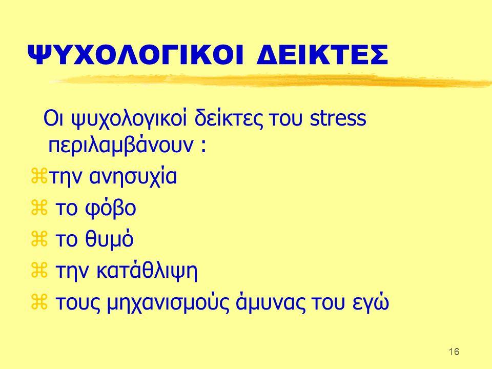 16 ΨΥΧΟΛΟΓΙΚΟΙ ΔΕΙΚΤΕΣ Οι ψυχολογικοί δείκτες του stress περιλαμβάνουν : zτην ανησυχία z το φόβο z το θυμό z την κατάθλιψη z τους μηχανισμούς άμυνας του εγώ
