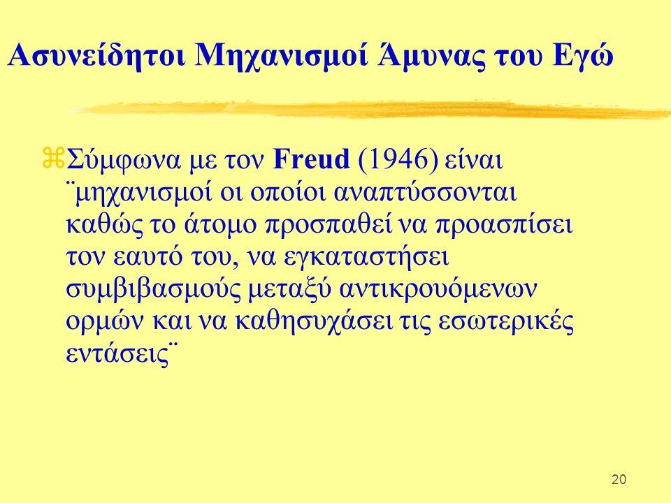 20 Ασυνείδητοι Μηχανισμοί Άμυνας του Εγώ  Σύμφωνα με τον Freud (1946) είναι ¨μηχανισμοί οι οποίοι αναπτύσσονται καθώς το άτομο προσπαθεί να προασπίσει τον εαυτό του, να εγκαταστήσει συμβιβασμούς μεταξύ αντικρουόμενων ορμών και να καθησυχάσει τις εσωτερικές εντάσεις¨