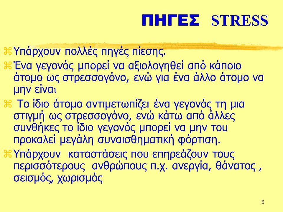 3 ΠΗΓΕΣ STRESS zΥπάρχουν πολλές πηγές πίεσης.