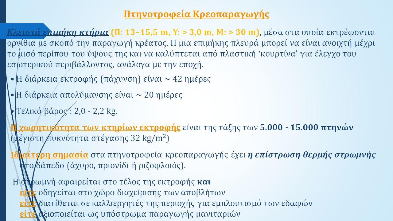 Η διάρκεια εκτροφής (πάχυνση) είναι ~ 42 ημέρες Η διάρκεια απολύμανσης είναι ~ 20 ημέρες Τελικό βάρος : 2,0 - 2,2 kg. Η χωρητικότητα των κτηρίων εκτρο