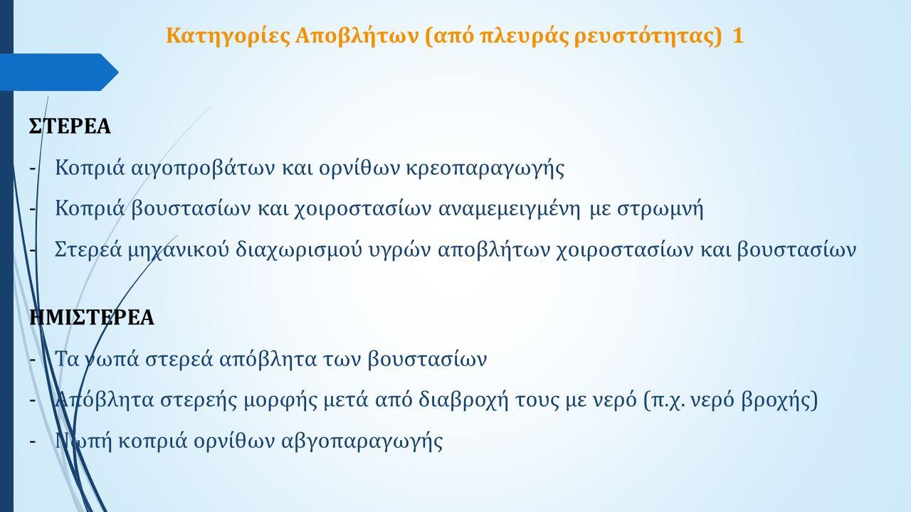Κατηγορίες Αποβλήτων (από πλευράς ρευστότητας) 1 ΣΤΕΡΕΑ -Κοπριά αιγοπροβάτων και ορνίθων κρεοπαραγωγής -Κοπριά βουστασίων και χοιροστασίων αναμεμειγμέ