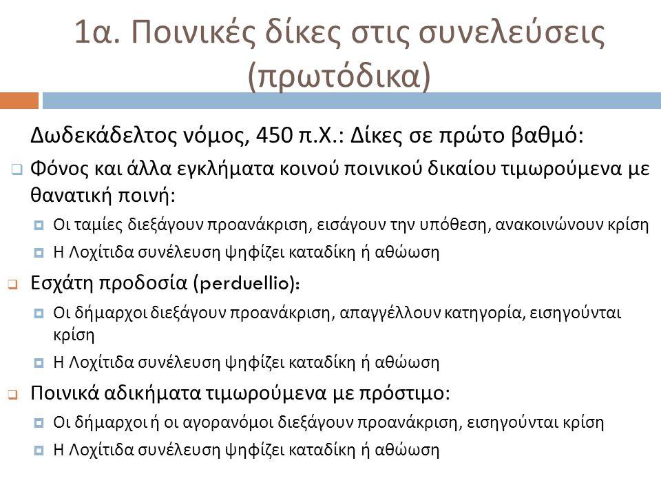 1 α. Ποινικές δίκες στις συνελεύσεις ( πρωτόδικα ) Δωδεκάδελτος νόμος, 450 π.