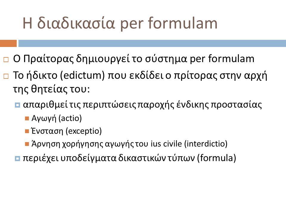Η διαδικασία per formulam  Ο Πραίτορας δημιουργεί το σύστημα per formulam  Το ήδικτο (edictum) που εκδίδει ο πρίτορας στην αρχή της θητείας του:  απαριθμεί τις περιπτώσεις παροχής ένδικης προστασίας Αγωγή (actio) Ένσταση (exceptio) Άρνηση χορήγησης αγωγής του ius civile (interdictio)  περιέχει υποδείγματα δικαστικών τύπων (formula)