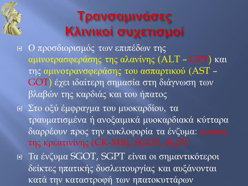  Ο προσδιορισμός των επιπέδων της αμινοτρασφεράσης της αλανίνης (ALT – GPT) και της αμινοτρανσφεράσης του ασπαρτικού (AST – GOT) έχει ιδαίτερη σημασί