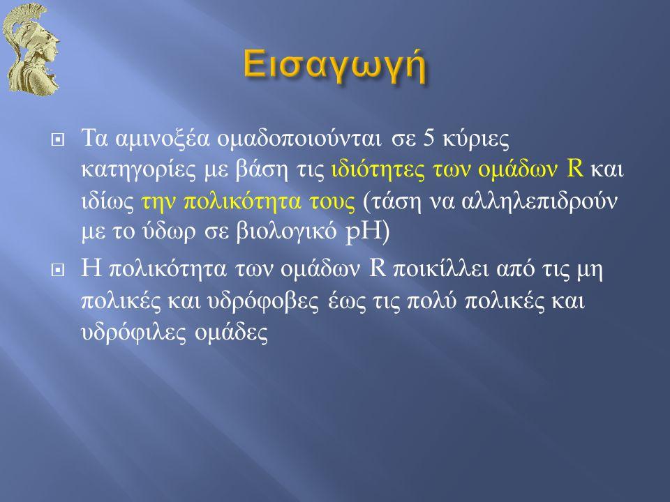  Τα αμινοξέα ομαδοποιούνται σε 5 κύριες κατηγορίες με βάση τις ιδιότητες των ομάδων R και ιδίως την πολικότητα τους ( τάση να αλληλεπιδρούν με το ύδω