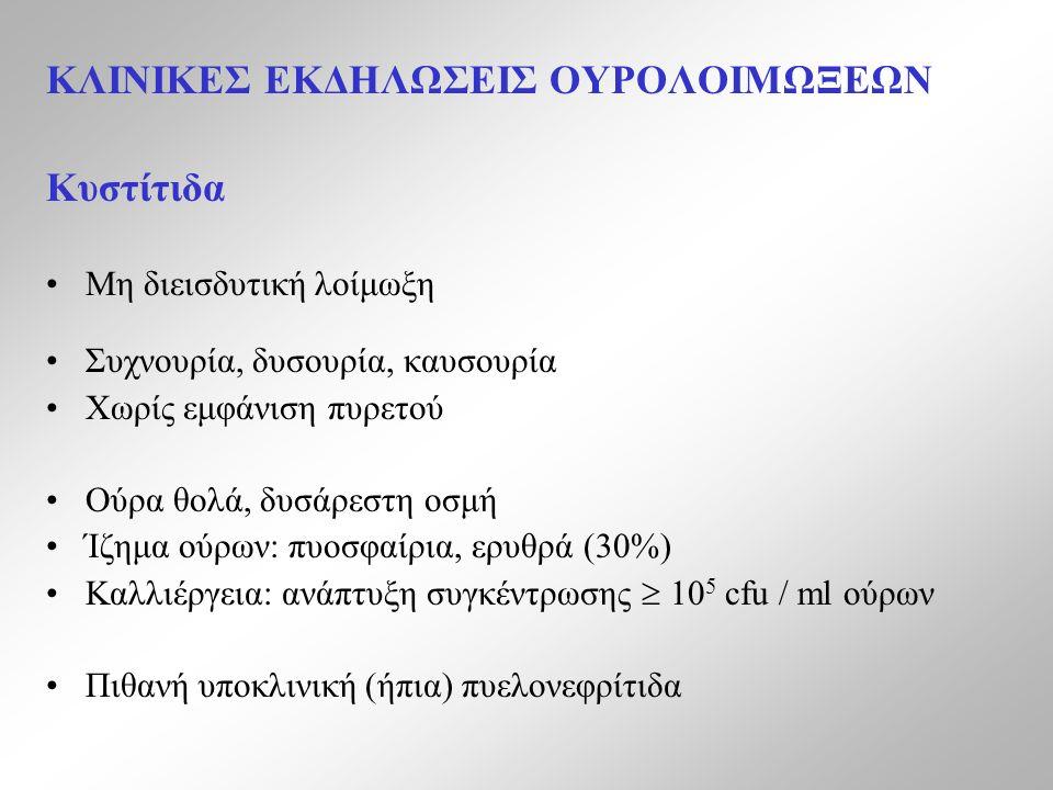 ΚΛΙΝΙΚΕΣ ΕΚΔΗΛΩΣΕΙΣ ΟΥΡΟΛΟΙΜΩΞΕΩΝ Κυστίτιδα Μη διεισδυτική λοίμωξη Συχνουρία, δυσουρία, καυσουρία Χωρίς εμφάνιση πυρετού Ούρα θολά, δυσάρεστη οσμή Ίζημα ούρων: πυοσφαίρια, ερυθρά (30%) Καλλιέργεια: ανάπτυξη συγκέντρωσης  10 5 cfu / ml ούρων Πιθανή υποκλινική (ήπια) πυελονεφρίτιδα