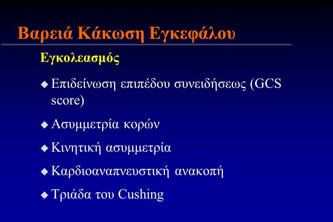 Εγκολεασμός u Επιδείνωση επιπέδου συνειδήσεως (GCS score) u Ασυμμετρία κορών u Κινητική ασυμμετρία u Καρδιοαναπνευστική ανακοπή u Τριάδα του Cushing Β