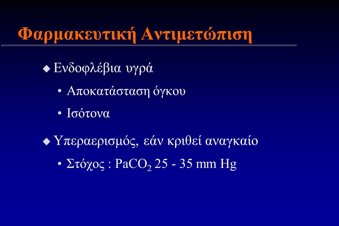 Φαρμακευτική Αντιμετώπιση u Ενδοφλέβια υγρά Αποκατάσταση όγκου Ισότονα u Υπεραερισμός, εάν κριθεί αναγκαίο Στόχος : PaCO 2 25 - 35 mm Hg