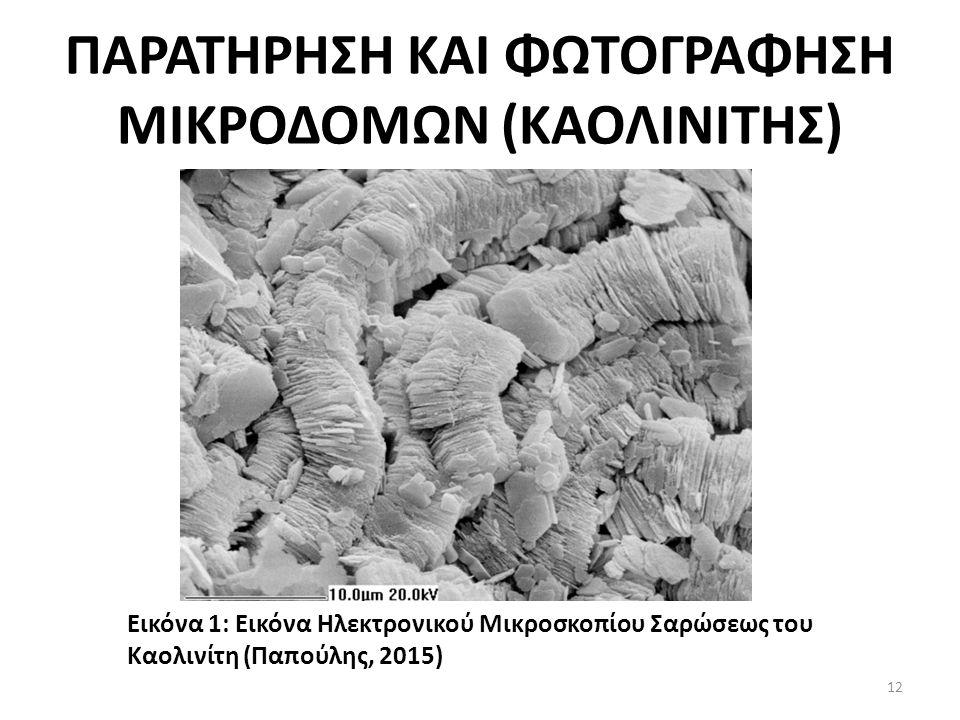 ΠΑΡΑΤΗΡΗΣΗ ΚΑΙ ΦΩΤΟΓΡΑΦΗΣΗ ΜΙΚΡΟΔΟΜΩΝ (ΚΑΟΛΙΝΙΤΗΣ) Εικόνα 1: Εικόνα Ηλεκτρονικού Μικροσκοπίου Σαρώσεως του Καολινίτη (Παπούλης, 2015) 12