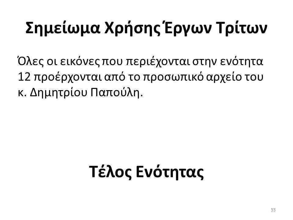 Σημείωμα Χρήσης Έργων Τρίτων Όλες οι εικόνες που περιέχονται στην ενότητα 12 προέρχονται από το προσωπικό αρχείο του κ.
