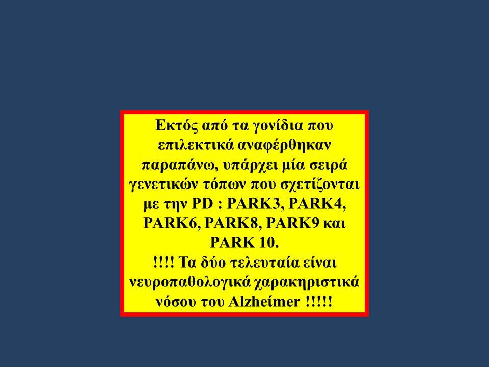 Εκτός από τα γονίδια που επιλεκτικά αναφέρθηκαν παραπάνω, υπάρχει μία σειρά γενετικών τόπων που σχετίζονται με την PD : PARK3, PARK4, PARK6, PARK8, PARK9 και PARK 10.