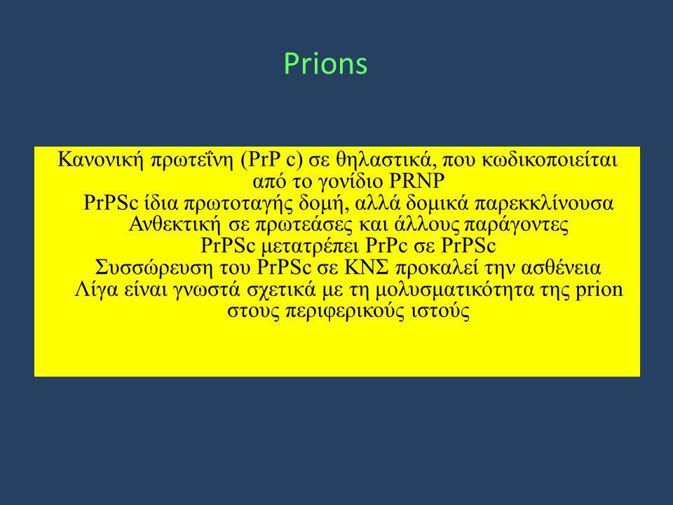 Prions Κανονική πρωτεΐνη (ΡrΡ c) σε θηλαστικά, που κωδικοποιείται από το γονίδιο PRNP PrPSc ίδια πρωτοταγής δομή, αλλά δομικά παρεκκλίνουσα Ανθεκτική σε πρωτεάσες και άλλους παράγοντες PrPSc μετατρέπει PrPc σε PrPSc Συσσώρευση του PrPSc σε ΚΝΣ προκαλεί την ασθένεια Λίγα είναι γνωστά σχετικά με τη μολυσματικότητα της prion στους περιφερικούς ιστούς