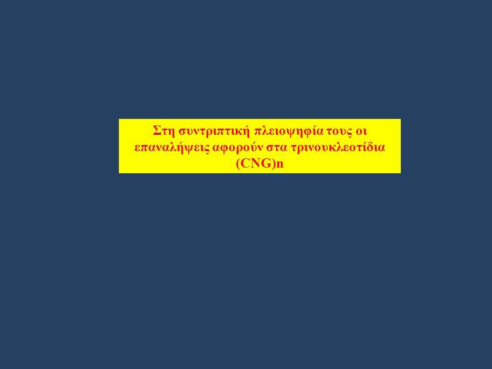 Στη συντριπτική πλειοψηφία τους οι επαναλήψεις αφορούν στα τρινουκλεοτίδια (CNG)n